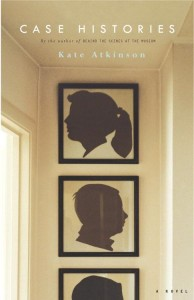 cover of the book Case Histories by Kate Atkinson; image of a wall with silhouettes of a woman, a man, and a portion of a third head visible