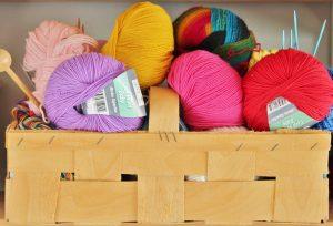 Basket of yarn balls