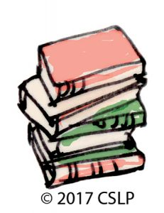 sketched illustration of a stack of books with rough, messy coloring of red, green, and orange.